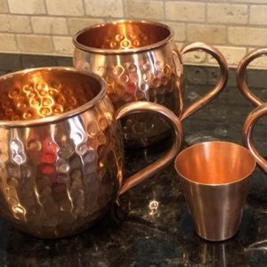 Anthropologie 100% copper Moscow mule set